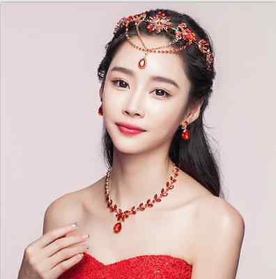 Red Bridal Headpiece Frontlet Crystal Wedding Prom Earrings Necklace Headdress