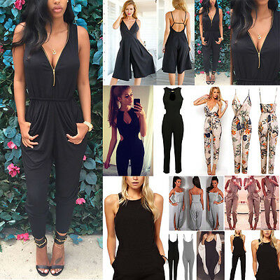 Women Ladies Summer Long Pants Trousers Casual Playsuit Jumpsuit Romper Overall