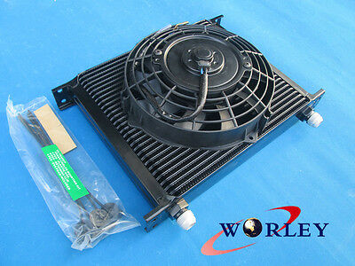Universal 30 Row Engine Transmission 10AN Oil Cooler + 7 Inch Thermo Fan
