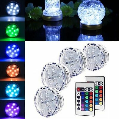10 LED Multi-color Submersible RGB Party Base Light with 24 Key Remote Control