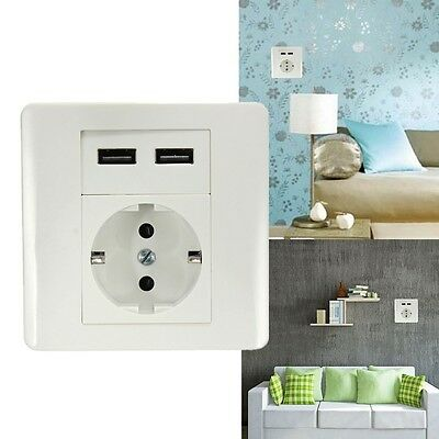 Safety Home Dual 2 USB Wall Charger EU Plug Socket Faceplate Power Outlet Panel