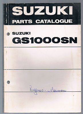 Suzuki Gs 1000 Sn Parts Manual First Edition December 1978 Wes Cooley Replica