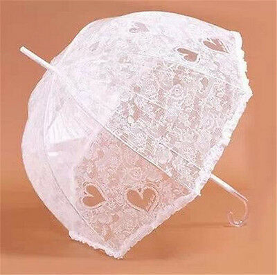 Lovely Romantic White Love Lace Thick Transparent Umbrella Wedding Supplies