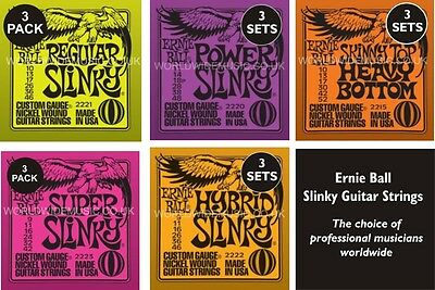 3 PACK Ernie Ball Slinky Guitar strings Choice of 5 Gauges - Super Regular Power