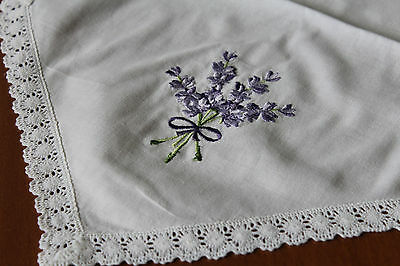 Brand New! Gorgeous Ditsy White Lavender Embroidered Runner Cushions Table Linen