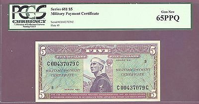Series 681 $5.00 Military Payment Certificate [MPC] PCGS 65 PPQ GEM NEW