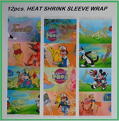 12pcs. HEAT SHRINK SLEEVE WRAP FOR  DECORATING EASTER EGGS DISNEY CARTOON HERO**