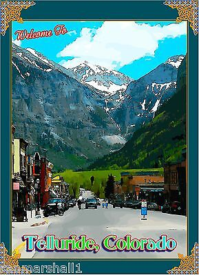 Welcome to Telluride Colorado United States Amerca Travel Advertisement Poster