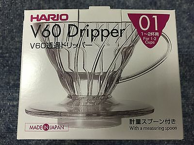 Hario V60 01 Coffee Dripper Clear VD-01T For 1-2 Cups MADE IN JAPAN