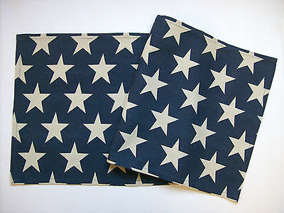 """VINTAGE STAR Blue with Cream Stars Rustic Americana 36"""" Cotton Table Runner"""