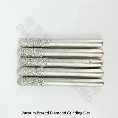 5pc Diameter 6mm cylinder with ball end diamond grinding head shank 6mm Burrs #6