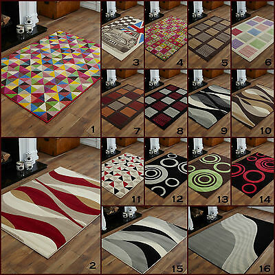 Large Modern High Quality 8Mm Thick Alpha Multi Colour Red Green Clearance Rugs