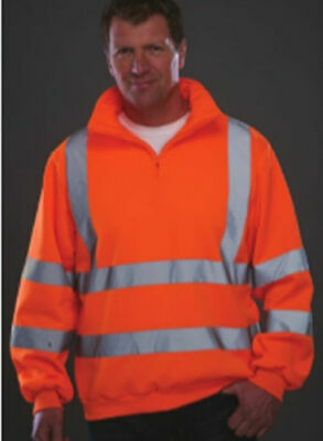 Orange Hoodie Hi Visibility CL 3 Hi Viz Hoody Shirt Zip Collar EN471 GO/RT