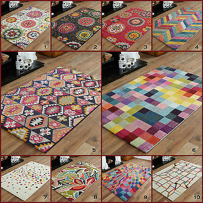Small Bright Funky  Geometric Shapes Multi Colours 10-12 Mm Clearance Area Rugs