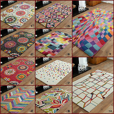 SMALL 60x120cm FUNKY GEOMETRIC SHAPES MULTI COLOURS  10-12 MM DISCOUNT AREA RUG