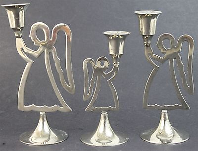 Set fo 3 International Silver Co Christmas Holiday Angel Candle Holders