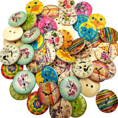 50 Vintage 20mm Wooden Buttons Round 2-Holes Sewing Scrapbooking DIY