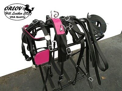 Pink Mini Miniature Show Drawn Driving Horse Cart Leather Parade Harness Set