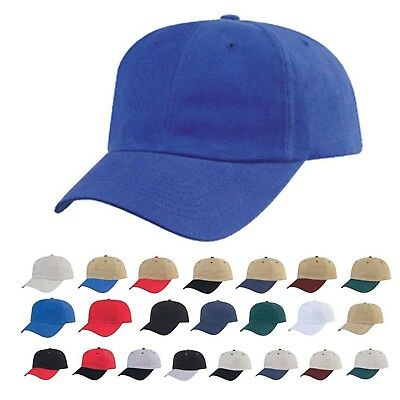 Heavy Brushed Cotton Low Crown 6 Panel Baseball Hats Caps Solid Two Tone