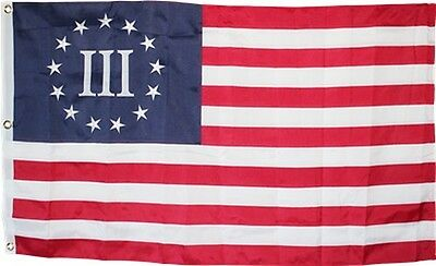 NYLON Betsy Ross III Flag 3x5 ft Embroidered Threeper Nyberg 3 Percent 3% 600D