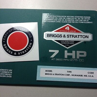 Briggs & Stratton 7-hp Sticker Decal Set 1978-1980 W/ Easy Spin Homelite