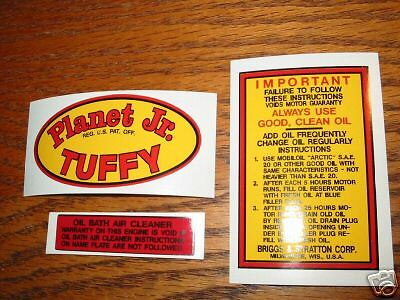 #26SET Planet Jr. Tuffy Decal for gas engine Tractors