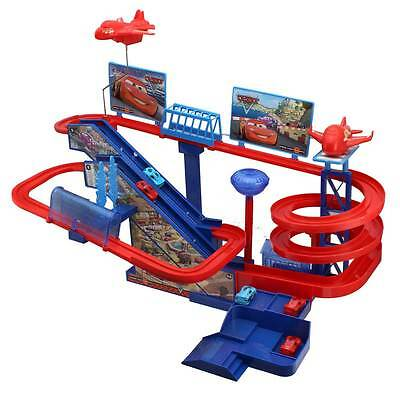 Cars 2 Racing Track Complete Set Include 5 Cars & 1 Helicopter Flip Action Ramp