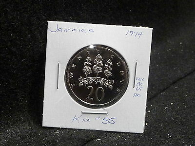 Jamaica:   1974    20 Cents  Coin  Proof  (Unc.)    (#2415)  Km # 55