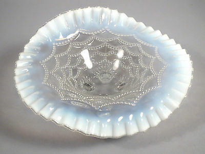 Bill Edwards Northwood Opalescent Footed Glass Bowl Beaded Drape WOW!