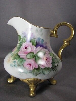 Antique Hand Painted Pink Rose Sign Russell Creamer Gold Gilt Porcelain Creamer