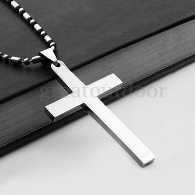 Fashion Men's Stainless Steel Cross Pendant Necklace Chain Silver Jewelry Gift