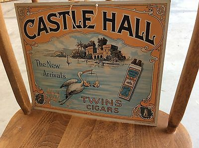 Turn Of Century Tobacciana Cigar Castle Hall Advertising Poster Sign Fine Cond