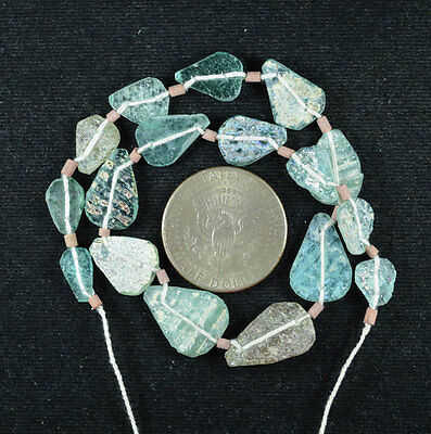 Ancient Roman Glass Beads 1 Medium Strand Aqua And Green 100 -200 Bc 398