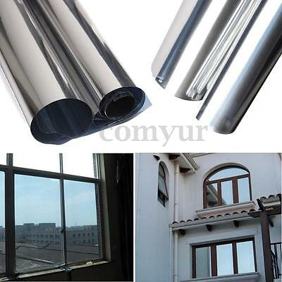 2M Silver Solar Reflective Window Film Paper Insulation Stickers One Way Mirror