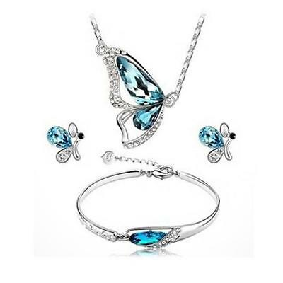 Ocean Blue Crystal Butterfly Jewellery Set Stud Earrings Necklace and Pendant FW