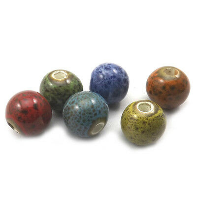 10mm Leopard Dot Round Ceramic Loose Beads For Jewelry DIY 100pcs/lot