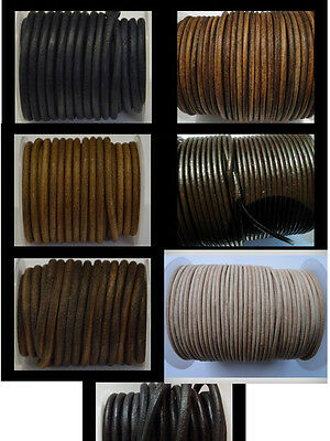 Real Round Leather Cord 5mm String Lace Thong Jewellery 100% FULL 5 mm Genuine