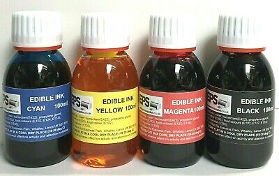 EPS Edible Ink 100ml Set for Canon Epson Printers (red, yellow, blue, black)