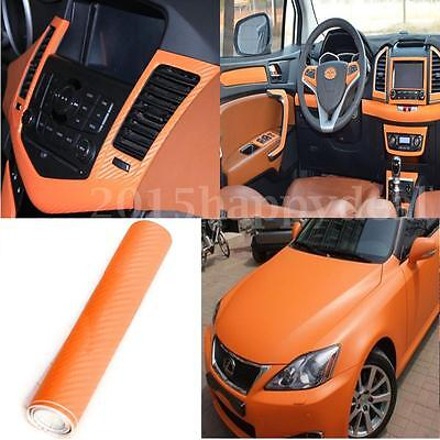 2m x200mm 3D Carbon Fiber Vinyl Wrap Roll Film Sticker Car Bike Home Wall Orange