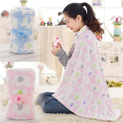 Elephant Cartoon Soft Baby Coral Fleece Kids Adult Air Conditioning Nap Blanket
