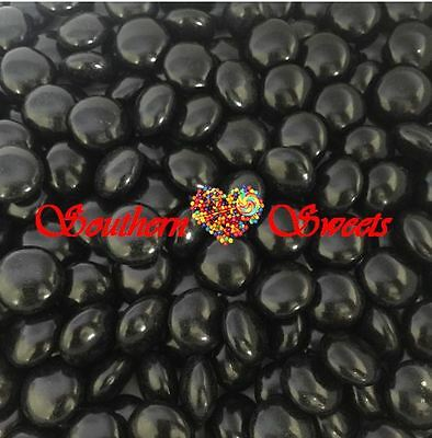 Black Choc Buttons 1Kg Crunchy Chocolate Drops Beanies Shiny Black Lollies