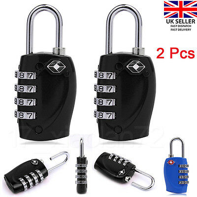 2 Pcs 4-Dial TSA Combination Padlock Resettable Lock Luggage Suitcase Travel Hot