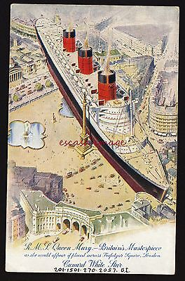 R.M.S. QUEEN MARY Ship compared to buildings postcard