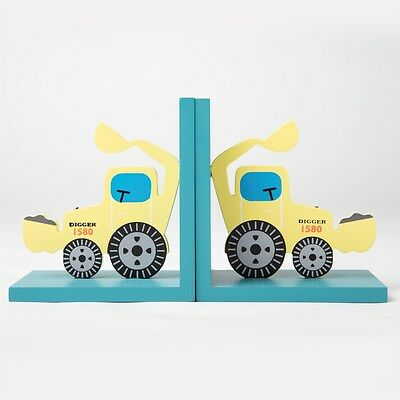Digger Bookends Boys Bedroom Yellow and Blue Kids Playroom Sass & Belle