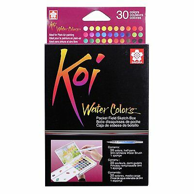 Sakura Koi Watercolor Paint Set with Brush, 12 18 24 30 Colors Sketch Drawing