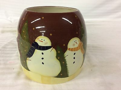 Winter Whimsy Garden Pottery Vase Design With Christmas Tree & Snows