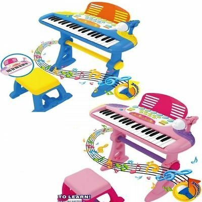 Kids Childrens 37 Key Electronic Keyboard Piano Mic Multi Musical Toy Records
