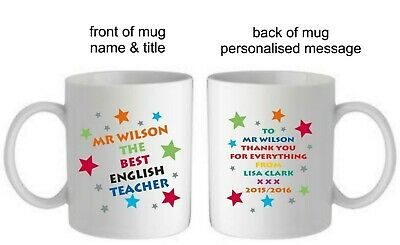 PERSONALISED THANK YOU TEACHER MUG LEAVING GIFT END OF TERM SCHOOL PRESENT OWLS