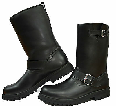 Tall Leather Cruiser Motorbike Motorcycle Ladies Kids Mens Boots