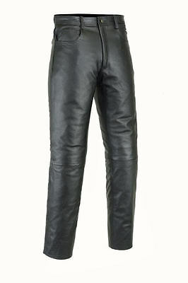 Mens Black Leather Cowhide Motorcycle Jeans Trousers